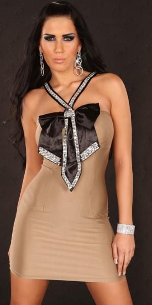 Sexy Party-Minikleid mit Schleife+Krawatte-Look