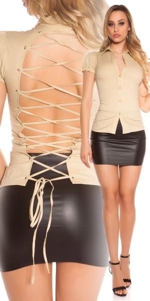 Sexy Kurzarm-Bluse zum Schnüren
