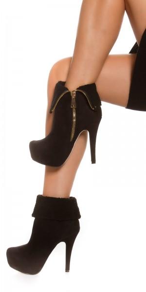 Trendy Stiefeletten mit Felleinsatz