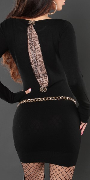 Sexy KouCla Strick-Minikleid mit Leoprint