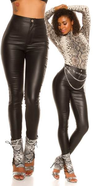 Sexy High Waist Skinny Lederlook Hose