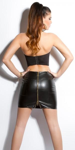 Sexy KouCla Lederlookrock mit Zips