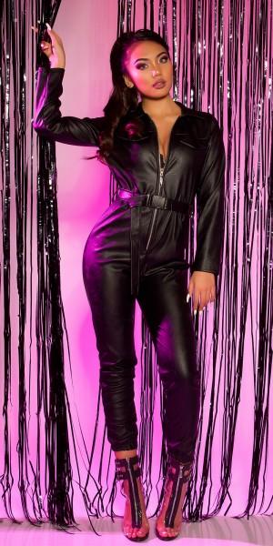 Sexy Lederlook Langarm Overall mit Gürtel