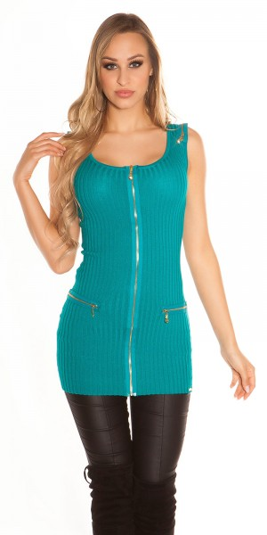 Sexy KouCla Feinstrick-Minikleid mit Zips
