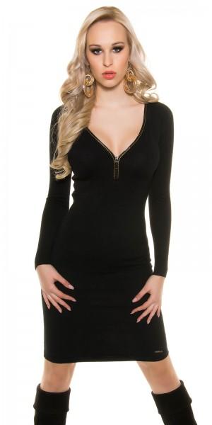 Trendy KouCla Feinstrick-Kleid mit Reißverschluss