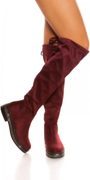 Trendy Wildlederlook Stiefel mit Strass