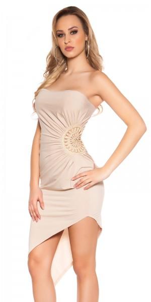 Sexy Bandeau-Kleid, asymm. m. Perlenstickerei