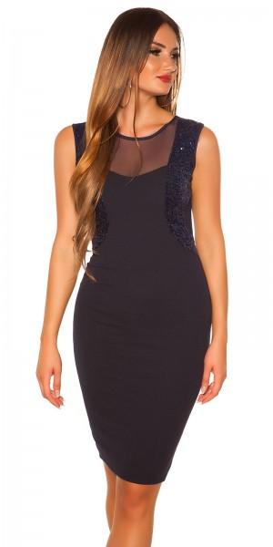 Sexy Koucla Etui Kleid mit Pailletten, Transparent