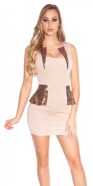 Sexy KouCla Minikleid mit Schößchen und Pailletten