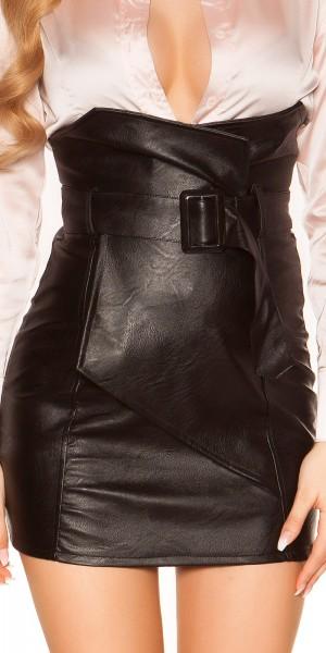 Sexy High Waist Minirock Lederlook mit Gürtel
