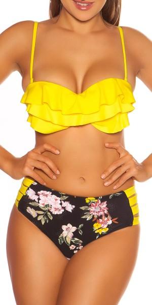 Sexy Pushup-Bikini m.Blumenprint Highwaist-Höschen