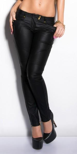 Sexy KouCla Treggings mit Nieten und Lederlook