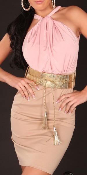 Sexy Neck-Kleid mit Gürtel im Businesslook