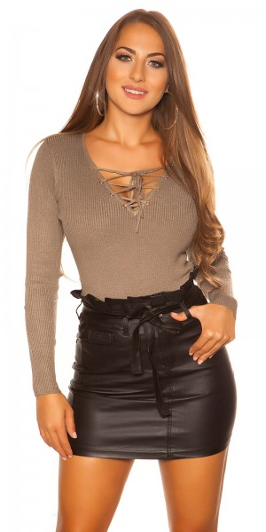 Sexy KouCla Pullover mit V-Cut Schnürung