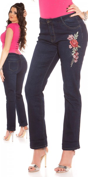 Curvy Girls! Trendy Jeans mit Stickerei und Strass