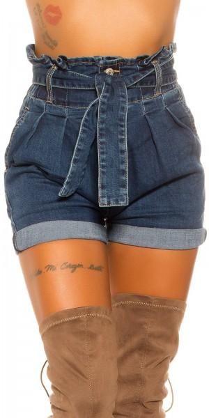 Sexy Highwaist Jeansshorts mit Gürtel