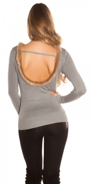 SexyBack! Koucla Feinstrick-Pullover mit Kunstfell
