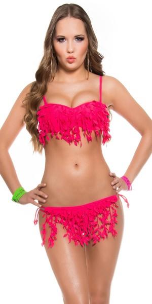 Sexy PushUp Bikini mit Fransen + abnehmbare Träger