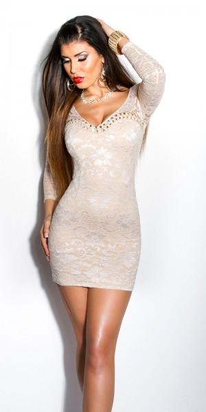 Sexy KouCla Minikleid mit Spitze und Perlen