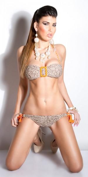 Sexy Neck-Bikini mit Print