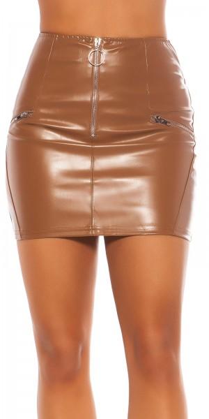 Sexy Lederlook Minirock mit Zips