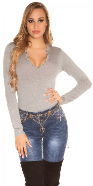 Sexy Feinstrick-Pullover mit Nieten besetzt