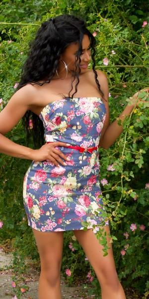 Sexy Bandeau-Minikleid mit Flower-Print und Gürtel