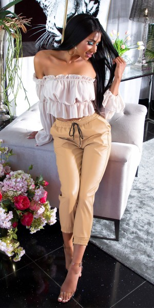 "Trendy Highwaist Lederlook Hose ""Joggerstyle"""